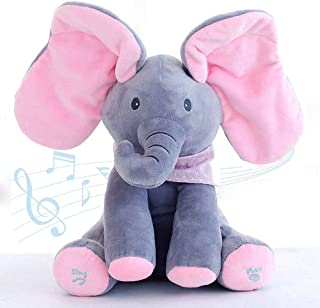 Abestest Plush Toy peek-a-Boo Elephant, Hide-and-Seek Game Baby Animated Plush Elephant Doll Present (Pink)