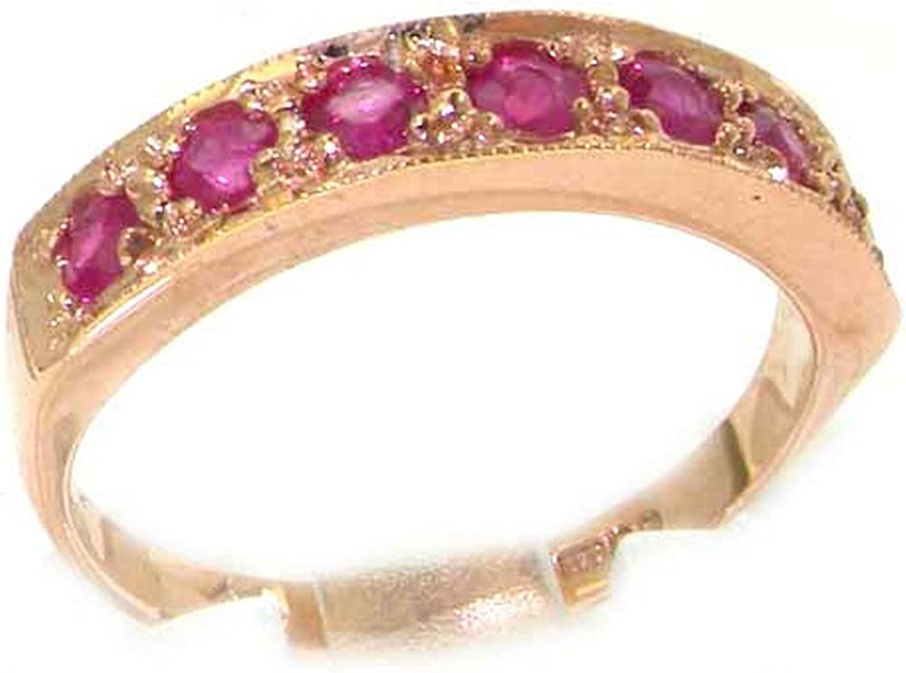 14k Rose Gold Natural Luxury goods Ruby Womens 2021 autumn and winter new Eternity - Ring 4 12 Sizes to