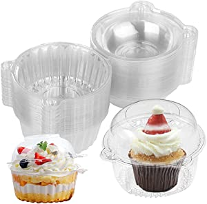 70 Pack Individual Cupcake Containers,Single Disposable Clear Plastic Dome Cupcake Holders Cases Individual Cupcake Boxes Bulk