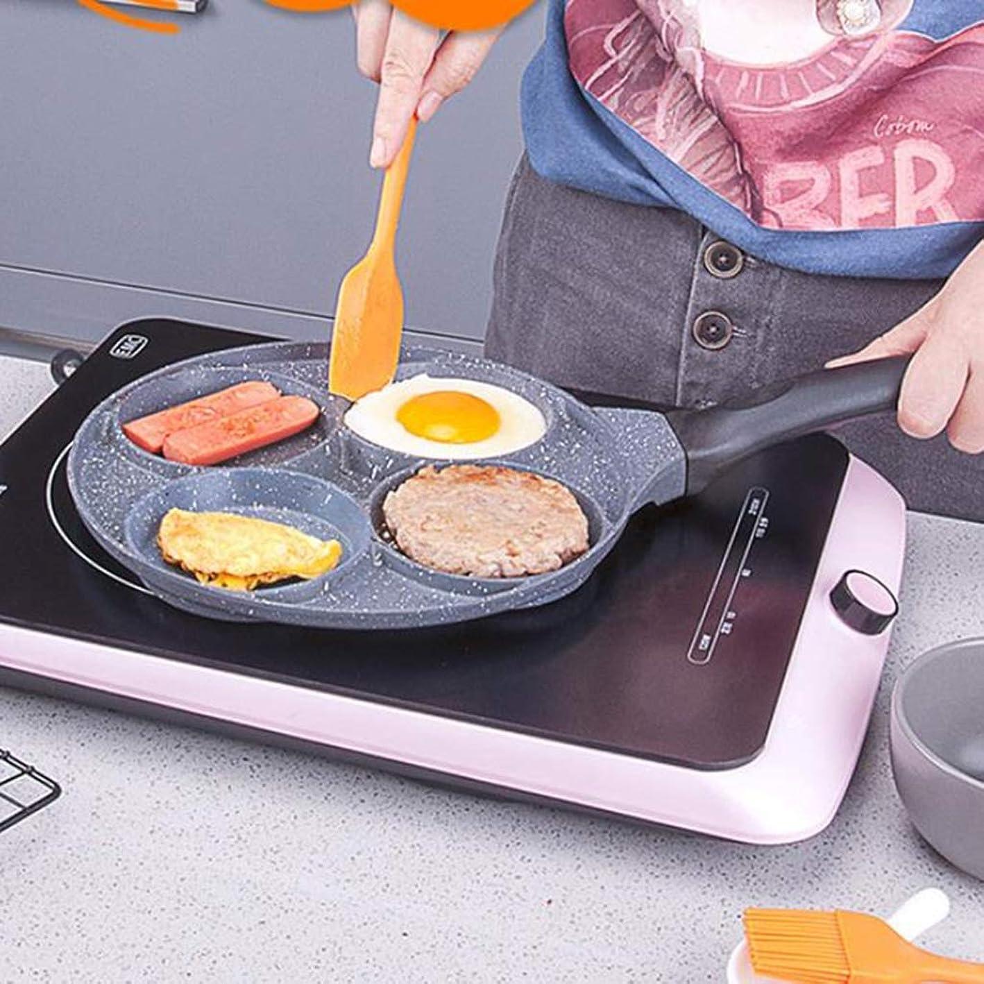 スキャンダラス腹痛化合物リューシン オムレツパン焦げ付き防止の炊事道具の小型鍋4穴の朝食の小さいフライパン