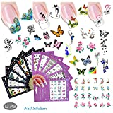 12 Sheet Water Transfer Nail Decals Flower Cartoon Animal Butterfly Nail Decals Tattoos for Nail Art Design