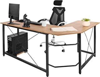 "AuAg Modern L-Shaped Home Office Desk 66 inch Sturdy Computer PC Laptop Table Corner Desk Workstation Larger Gaming Desk Easy to Assemble 66.5"" x 47.5"" x 29.3"" (Wood)"