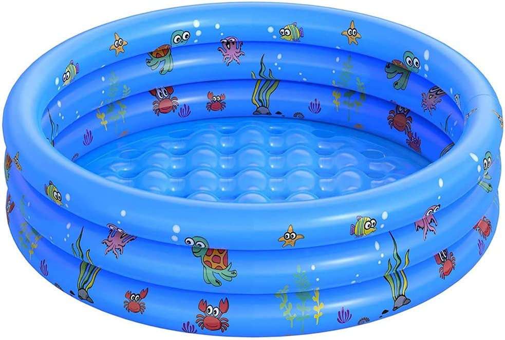 FANIER Piscina Hinchable para niño, Redonda Piscina Inflable Hinchable bañera Hinchable para jardín, 3 Cámara de Aire Individuales, 100 cm de diámetro, 38 cm de Altura