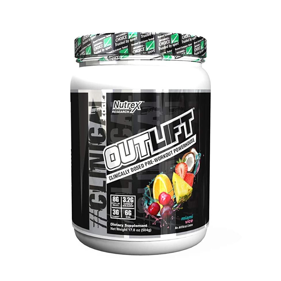 Nutrex Research Outlift | Clinically Dosed Pre-Workout Powerhouse, Citrulline, BCAA, Creatine, Beta-Alanine, Taurine, 0 Banned Substances | Miami Vice | 20 Servings