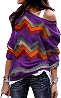 Women's Long Sleeve Geo Print Tee Tops Spring Fall Shift Cotton Pullover Henleys Shirts Plus Size