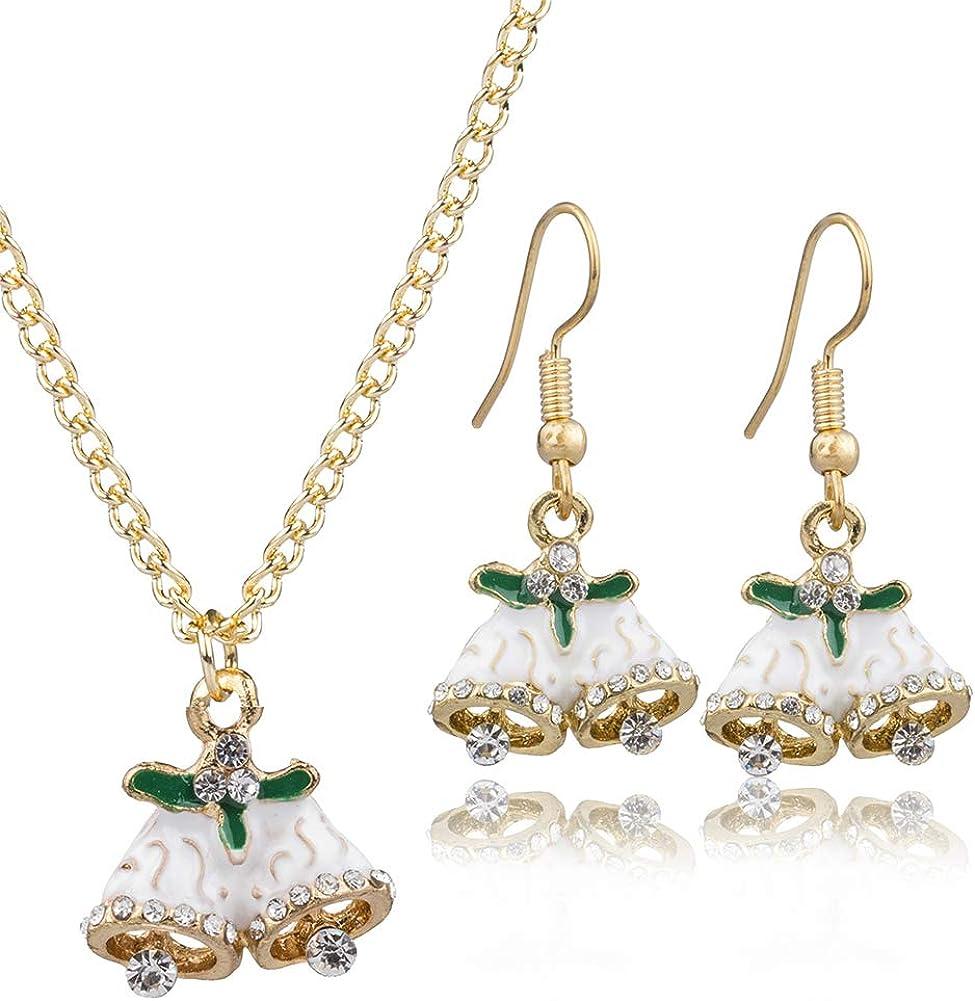 YAZILIND Rhinestone Christmas Bell Pendant Necklace Drop Dangle Earrings Women Jewelry Set