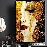 Cuadros de arte de pared para sala de estar Artista clásico Gustav Klimt Lienzo de lágrima Pintura Carteles abstractos e impresiones Decoración 50x75cm (20x30in) Con marco