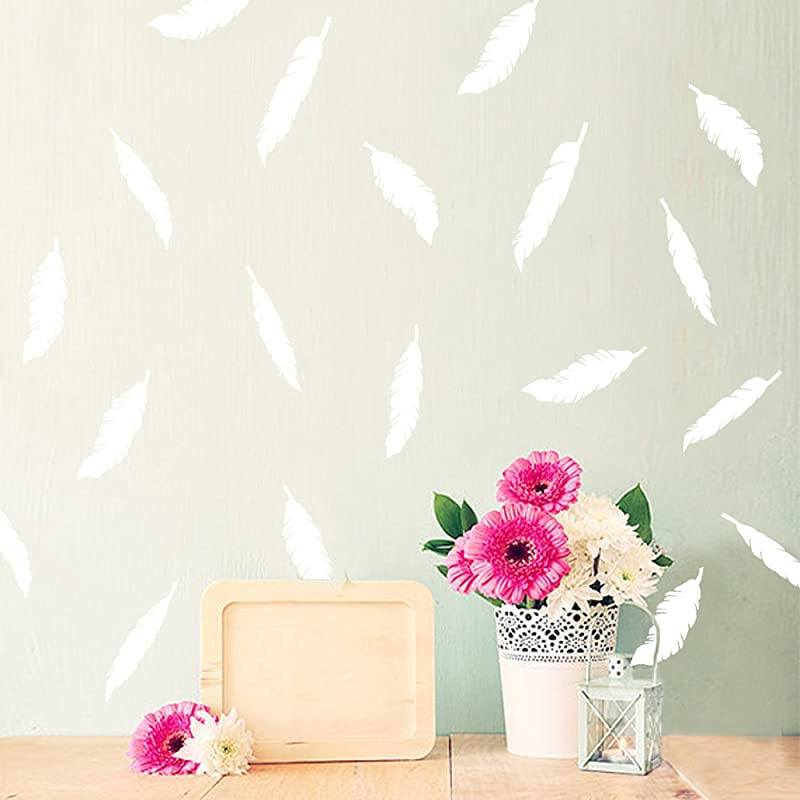 Wall Decor Stickers For Babes And Kids Room Feathers White
