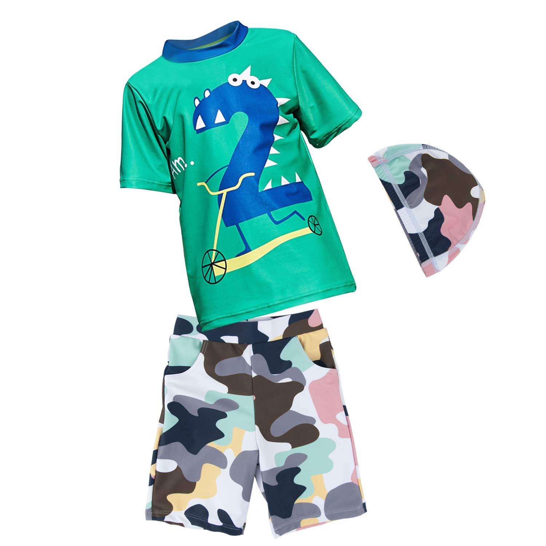 男の子 水着 ラッシュガード お洒落 海パン 水陸両用 スポーツ ゆったり タイプ 温泉 子供 スイムウェア 速乾 上下+帽子 3点セット