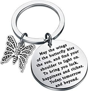FUSTMW Butterfly Charm Keychain Irish Blessing Gifts Butterfly Jewelry Lover Gifts Going Away Gifts Graduation Gifts May The Wings of The Butterfly to Bring You Luck Happiness Riches