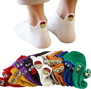 HEITIGN, 4 Pares de Calcetines Kawaii para Mujer, Calcetines Bordados con Expresión, Calcetines Térmicos Novedosos, Calcetines Divertidos para El Tobillo Calcetines Tobilleros de Algodón para Mujer