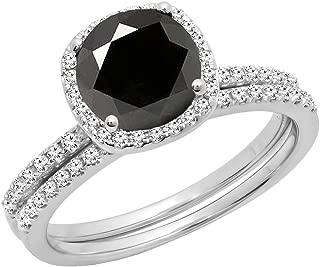 2.00 Carat (ctw) 14K Gold Round Cut Black & White Diamond Bridal Halo Engagement Ring Set 2 CT
