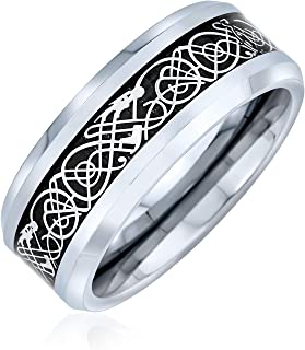 Two Tone Celtic Knot Dragon Inlay Couples Titanium Wedding Band Rings for Men for Women Comfort Fit 8MM More Colors