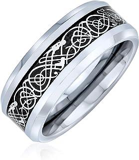 Personalize Two Tone Celtic Knot Dragon Carbon Fiber Inlay Couples Silver Gold Tones Titanium Wedding Band RingsforMen f...