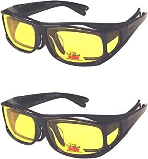 Polarized Fit Over Cover Wear Over Prescription Glasses Yellow Lens Night Driving Sunglasses