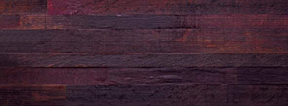 Temesso Panel de Madera para Pared realizado a Partir de Las duelas de Barril, Mural de Pared en Madera de Roble - Mural frontón Decorativo (Color Vino Tinto)