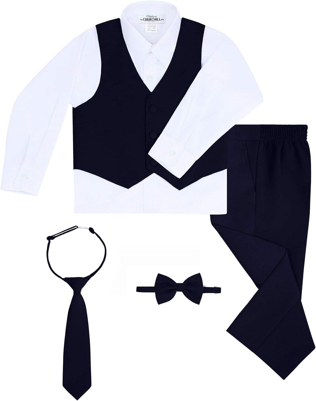 Boys 6-Piece Suit Set Dress Pants Neck Tie /& Bow Tie White Dress Shirt Includes Suit Jacket Matching Vest