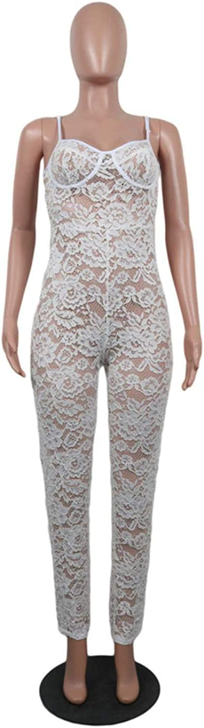 White Floral Lace Spaghetti Strap Sleeveless Hollow Jumpsuit