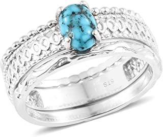 925 Sterling Silver Platinum Plated Oval Turquoise Statement Ring for Women Jewelry Gift