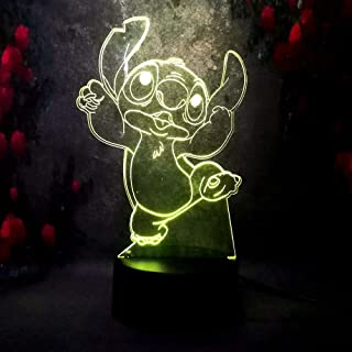 Amroe Creative Night Light for Baby Sleep Bedroom Lamp Decoration lilo&Stitch Girl Boy Toy Gift 7 Color Change USB Base Remote Control Bulb