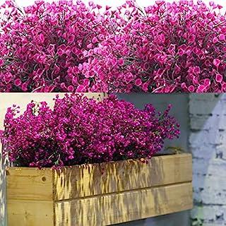 12 Lots Arbustes Artificiels Buissons Fleurs artificielles Résistantes Aux UV d'Extérieur Plantes Fleurs Décoratives pour ...