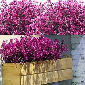 Silk Flower Arrangements 12 Bundles Artificial Flowers Outdoor UV Resistant Plants Flowers Decorative Artificial Shrubs Bushes for Floral Arrangement, Table Centerpiece, Home Garden Kitchen Decor