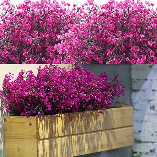 WILLBOND 12 Manojos Flores Arbustos Artificiales Plantas Flores Exteriores Resistentes a Rayos UV Arbustos Artificiales Decorativos para Decoración de Arreglo Floral, Centro de Mesa (Fucsia)
