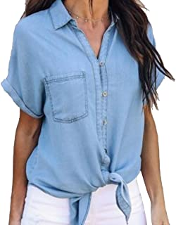 MNLYBABY Women's Collar Button Down Denim Shirt Short Sleeve Tie Front Blouse Tops with Pockets