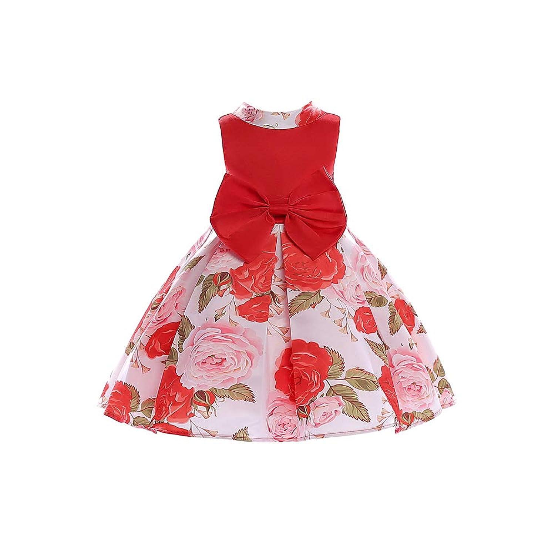 ガールズドレス 女の子ドレス ワンピース 蝶結びリボン 入園式 結婚式 卒業式 お花柄 袖なし 子供の服