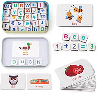 Coogam Wooden Magnetic Letters and Numbers Toys, Fridge Magnets ABC Alphabet Word Flash Cards Spelling Counting Game Learning Uppercase Lowercase Math for 3 4 5 Year Old Preschool Toddler Kid Boy Girl