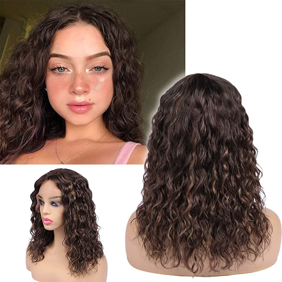 WIGER Lace Front Human Hair Wigs Natrual Water Wave Mix Color Short Loose Curly Wig 14 Inches Middle Part Brazilian Remy Hair Wigs for Black Women(Brown&Auburn)