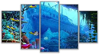 HSps Prints and Posters Wall Art Canvas Framework Hd Prints Poster Home Decor 5 Pieces Sunken Ship Coral Reef Fishs Pictures Underwater World Paintings-40Cm60/80/100Cm,with Frame