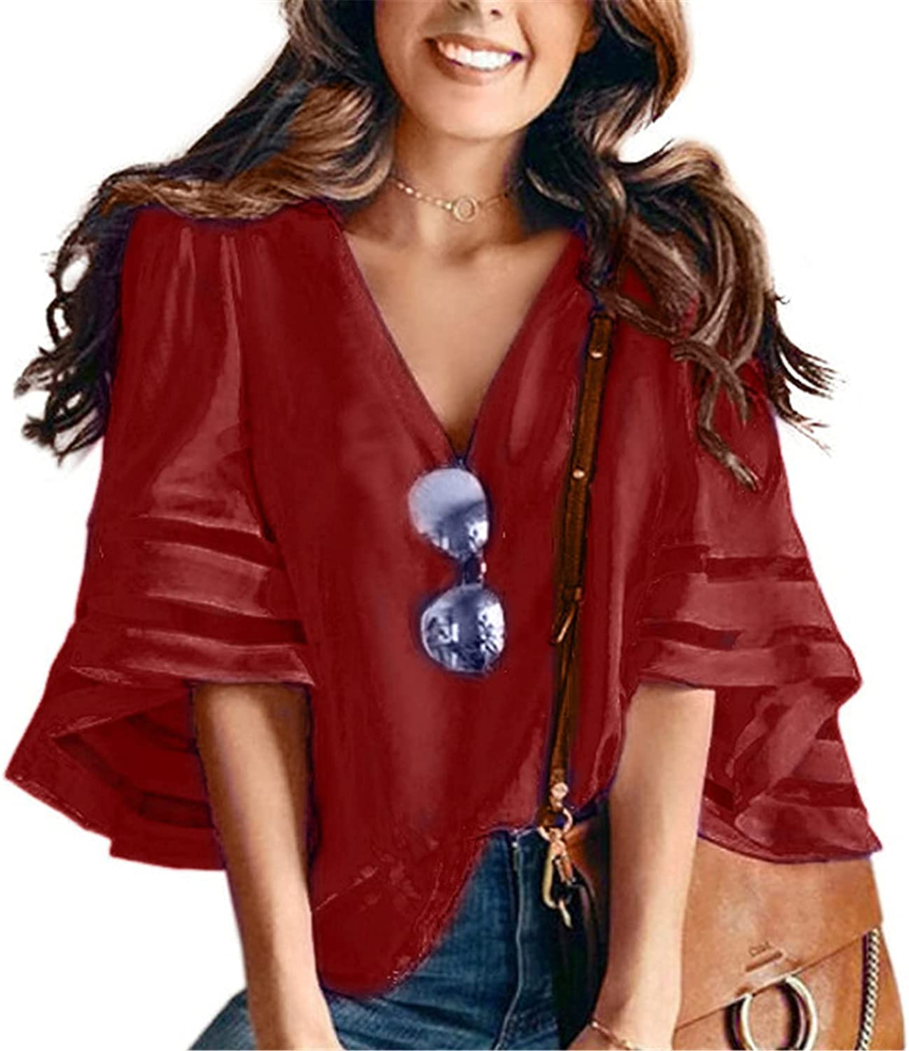 Andongnywell Super-cheap Women's Casual Top 3 4 Blouse Bell New sales Mesh Sleeve Tie