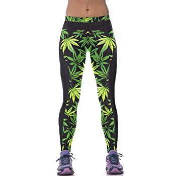 Sister Amy Womens High Waist Pure Color Digital Printted Ankle Elastic Tights Legging