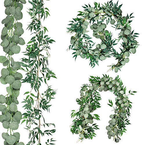 6.5ft Artificial Eucalyptus and 5.6ft Willow Leaves Garland, Faux Silver Dollar Eucalyptus Leaves Garland and Willow Vines Twigs Leaves Garland for Home Garden Indoor Outdoor Party Decoration