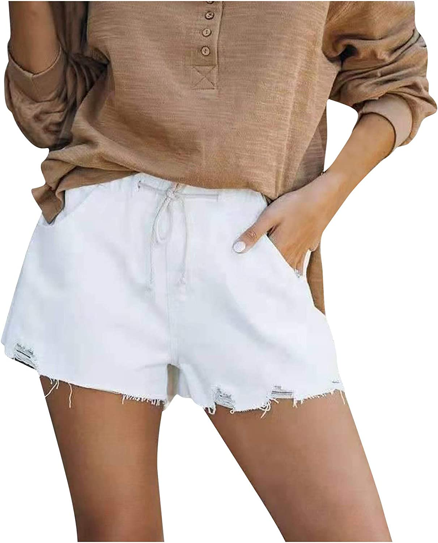 Kcocoo Women's Frayed Raw Hem Denim Jean Shorts Soft Comfy Drawstring Casual Elastic Waist Stretchy Jean Shorts with Pockets