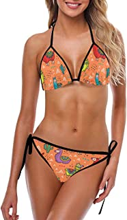 INTERESTPRINT Womens Flag Pattern Swimwear Swimsuit Strappy Tie Padded Top Bikini Bathing Suit