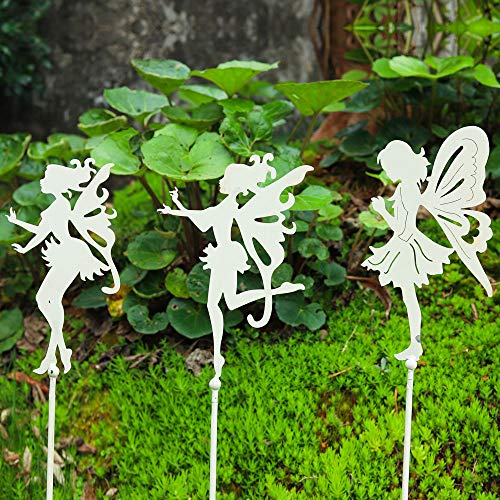 decorative garden stakes Sungmor Decorative Garden Stakes - Metal Fairy Stick Ornaments - Indoor Outdoor Garden Plant Support - Patio Balcony Lawn Landscaping Decoration - 3PC Pack, Vintage White, 72CM/28INCH Tall
