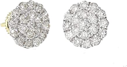 10K Gold Round Diamond Cluster Earrings 1.00ctw Screw back 10mm Wide Womens or Mens