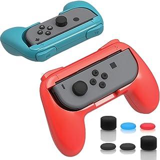 ジョイコンハンドル Nintendo Switch専用 Joy-Conハンドル グリップ 【任天堂 Joy-Con グリップ 2個 +アシストキャップ 6個入り】装着簡単 耐磨 反応素早い ゲームコントローラ (B-Red)