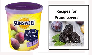 Sunsweet Amazin Prunes, Bite Size Pitted Prunes Bundle, 1 16 oz Canister of Dried Plums Plus