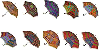 Rajasthali Indian Handmade Designer Cotton Fashion Multi Colored Umbrella Embroidery Boho Umbrellas Parasol 10 Pcs Lot