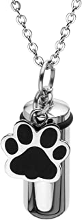 Jovivi Personalized Custom Stainless Steel Pet Puppy Dog Paw Charm Cylinder Urn Necklace Keychain for Ashes Memorial Keepsake Pendant Cremation Jewelry with Filler Kit and Box