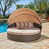 Patiomore Outdoor Patio Round Daybed with Retractable Canopy, Brown Wicker Furniture Clamshell Sectional Seating with Washable Cushions for Patio Backyard Porch Pool