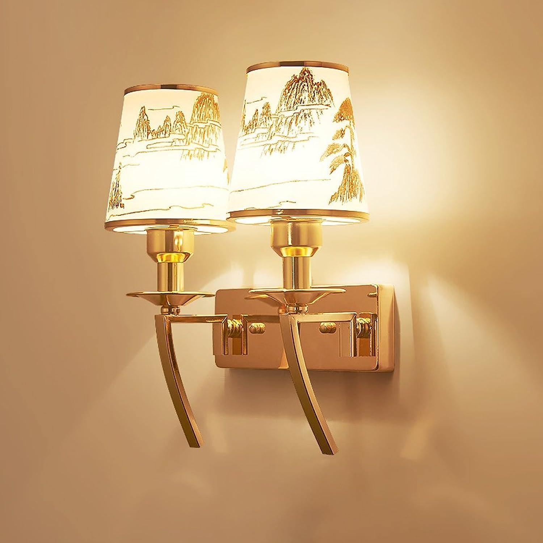 Amerikanische einfache Eisen Glas Wand Lampe Nachttisch Schlafzimmer Treppe Gang Balkon Wand Lampe (gre   Double head)
