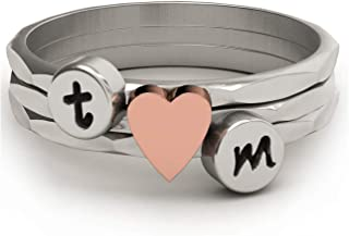EVBEA Stackable Initial Ring Custom Knuckle Rings Sets with Rose Gold Heart