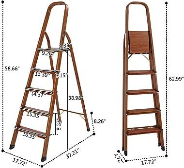 LUISLADDERS 5 Step Ladder Folding Aluminum Lightweight Ladder Woodgrain Step Ladder Anti-Slip Sturdy and Wide Pedal Ladders f