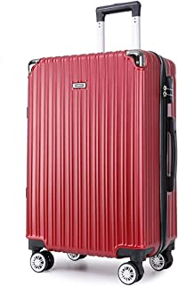 "SRY-Luggage PC Convenient Trolley Case,Super Storage Luggage Bag,Wheels Travel Rolling Boarding,20"" 24"" Inch Durable Carry on Luggage (Color : Red, Size : 24inch)"