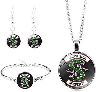 Collar y pendientes con logotipo de Riverdale Southside Serpents, con collar curvado de cristal