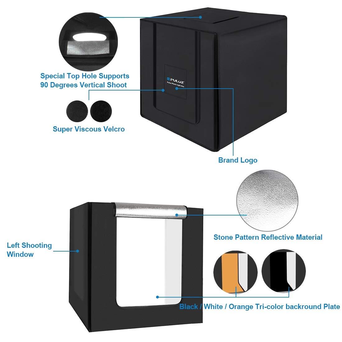 Hyx 80cm Folding Portable 80W 8500LM White Light Photo Lighting Studio Shooting Tent Box Kit with 3 Colors Backdrops Camera Parts Accessories Black, White, Orange
